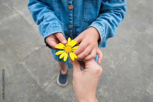 Photo 黄色い花を手渡す親子