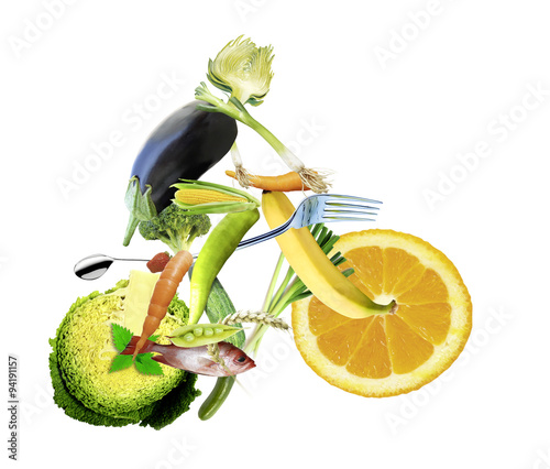 Fotografie, Obraz  gesunde ernährung und sport