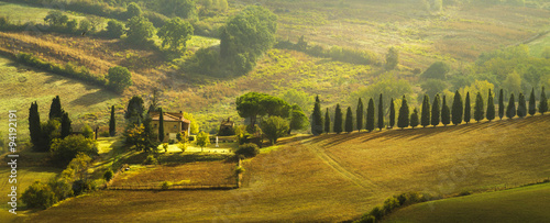 farmhouse in the Tuscan hills of the beautiful autumn morning Wallpaper Mural
