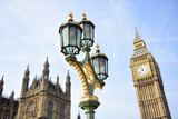 Fototapeta Big Ben - Big Ben and street lamp in London, England