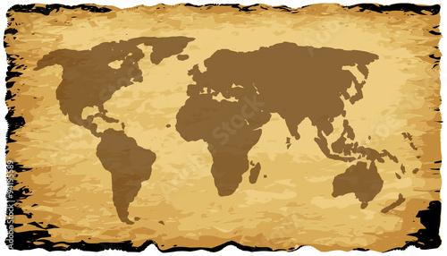 Foto op Aluminium Wereldkaart Old World Map On Parchment