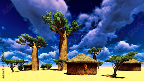 Fotobehang Baobab African village with traditional huts