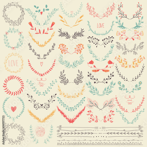 Fotografía  Big collection of hand drawn floral graphic design elements and lines border in retro style