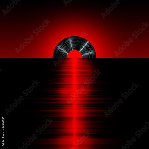 Sticker - Vinyl sunset red / 3D render of vinyl record as setting sun on horizon