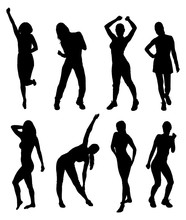 Fitness Women Silhouettes In Different Poses