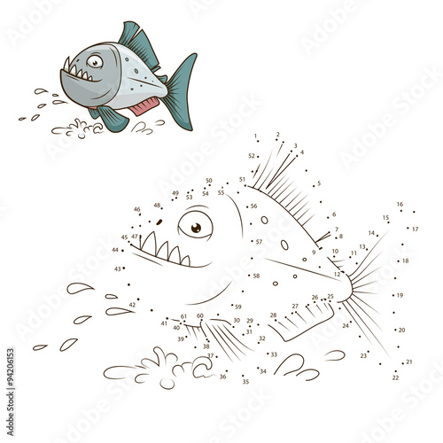 Fotografie, Obraz  Draw the animal piranha educational game vector