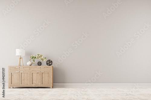 Foto  Kommode vor Wand im Wohnzimmer