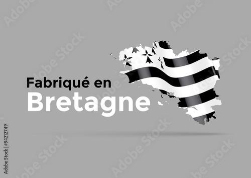 Photo Fabriqué en Bretagne drapeau 3D