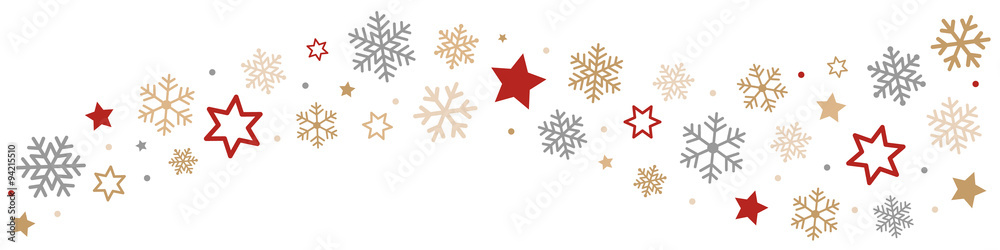 Fototapeta Snowflakes and Stars Border