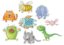 Funny Big-eyed Cartoon Animals Set