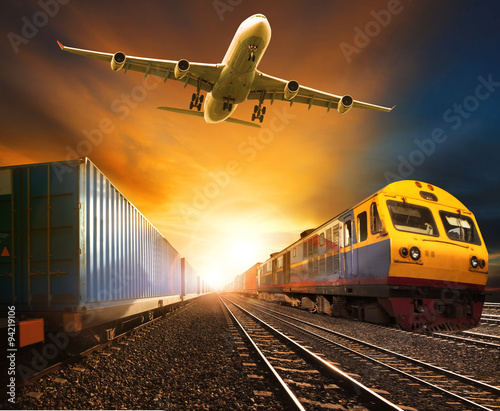industry container trainst running on railways track and cargo f
