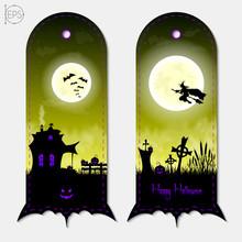 Halloween Creepy Yellow Fantasy Vertical Banners Labels Set. Vector Illustration.