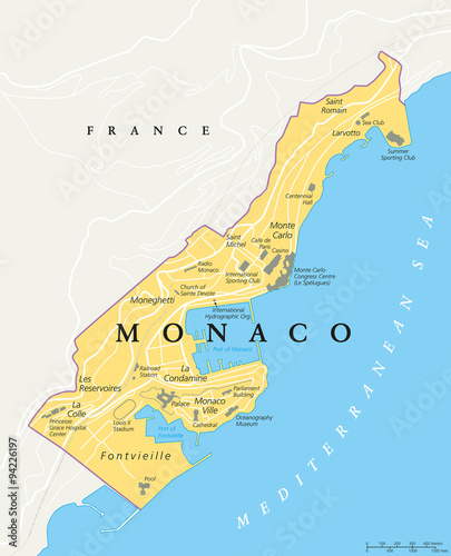 Map Of France With States.Monaco Political Map City State In On The French Riviera France