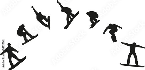 Fotografie, Obraz  Row of snowboard silhouettes jumping