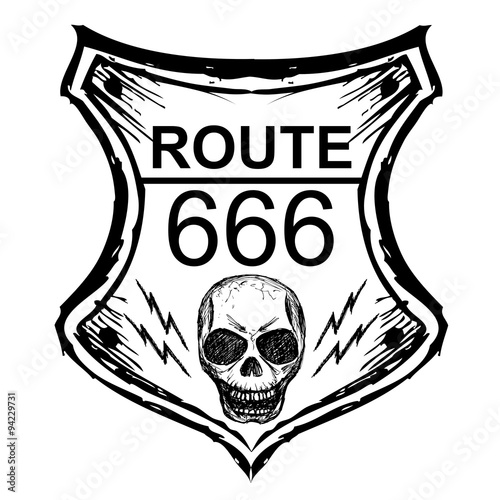 фотография  black route 666 sign on a white background