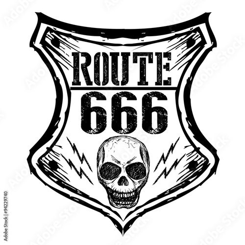 фотография  black route 666 sign on a white background.
