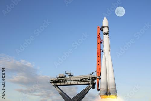 Deurstickers Nasa The Rocket Soars into the Sky
