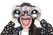 Leinwanddruck Bild Distorted girl portrait looking through binoculars