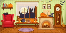 Halloween Room Interior. Vecto...
