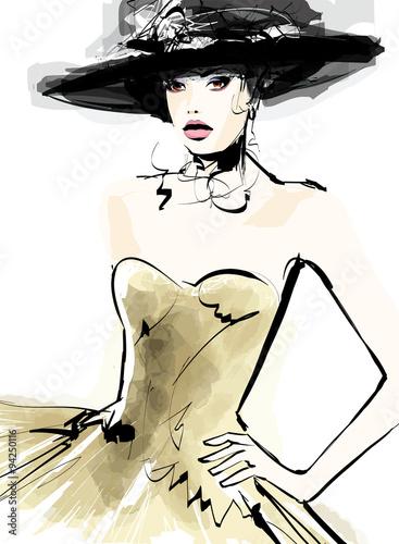 Canvas Prints Art Studio Fashion woman model with a hat