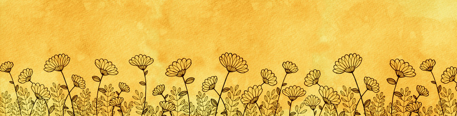 hand drawn daisy border, yellow watercolor parchment paper background with row of cute flowers growing, floral border or header for website design or graphic art projects, flat ink wild flower drawing