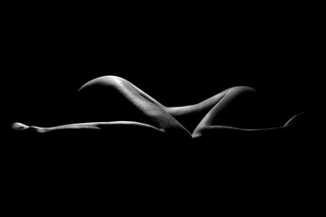 Obraz na SzkleNaked Woman Sexy Silhouette, Sensual Girl Pose, Black Nude Body