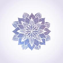 Watercolor Violet Lace Pattern. Vector Element. Mandala