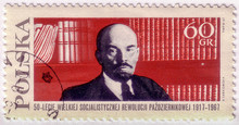 POLAND - CIRCA 1967: A Stamp Printed In Poland Shows Russian Communist Leader Vladimir Lenin On Bookshelf Background, Circa 1967