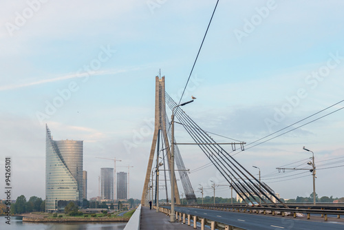 Aluminium Prints Rotterdam Cable bridge in the center of Riga city. Riga is the capital and largest city of Latvia, a major commercial, financial, cultural, historical and tourist center of the Baltic region