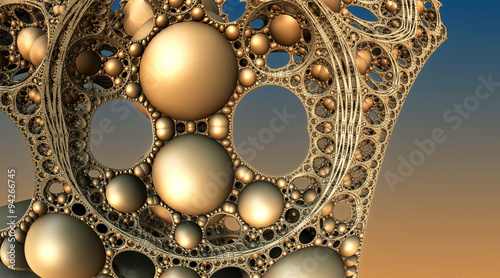 Photo Stands Fractal waves Abstract background, fantastic 3D gold structures, fractal design.
