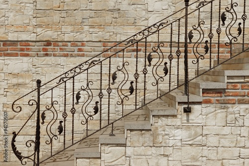 Photo Stands Stairs Modern Vintage Style Stone Staircase With Wrought Iron Ornate H