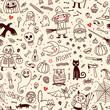 Halloween seamless pattern. Pumpkin, Ghosts, Cats, Skulls, Bats