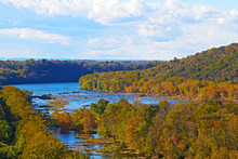 View On Shenandoah River And Blue Ridge Mountains From Harpers Ferry Overlook. Blue River And Autumn Trees Foliage On A Bright Afternoon, West Virginia, USA.