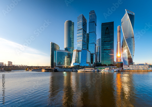 Foto op Canvas Moskou Moscow City - view of skyscrapers Moscow International Business Center.
