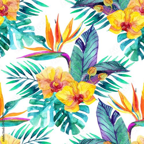 tropikalne-liscie-i-kwiaty-kwiatowy-wzor-tla