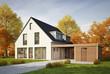 Leinwanddruck Bild - Haus mit Carport im Herbst