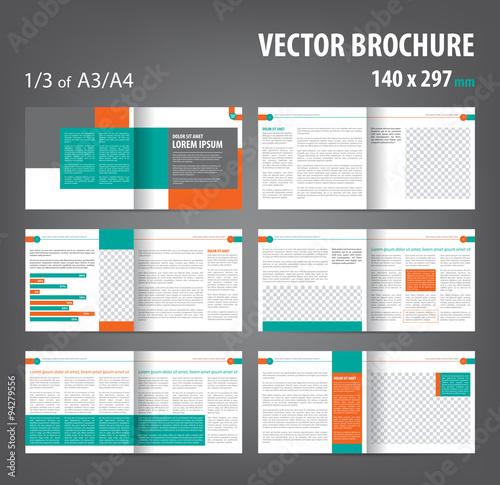 Vector empty bi-fold brochure print template design, bifold bright ...