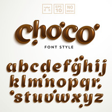 Vector Latin Alphabet Made Of Chocolate. Font Style.
