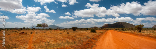 Photo sur Toile Orange eclat Landscape of Tsavo East, Kenya