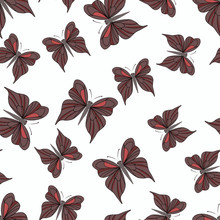 Seamless Pattern With Dark Red Butterflies On The White Background. Vintage Texture. Summer Backdrop. Vector Illustration.