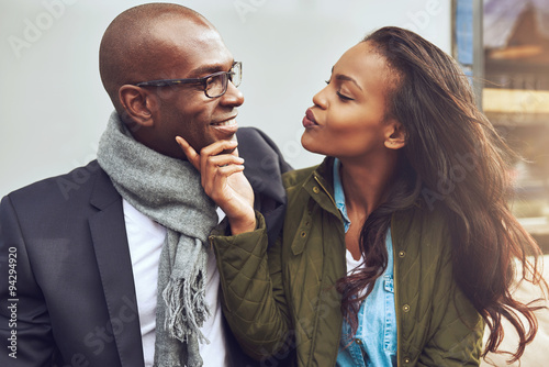 Photo Flirting young African American woman