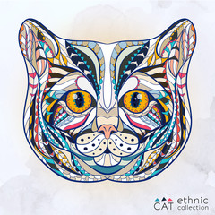 Fototapeta Kot Ethnic patterned head of cat on the grange background/ african / indian / totem / tattoo design