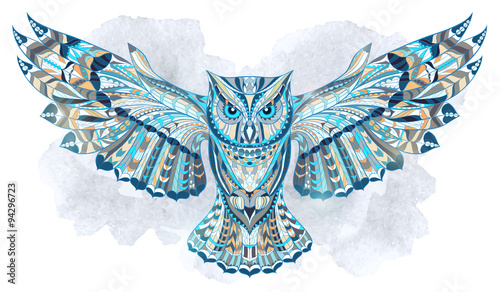 Deurstickers Uilen cartoon Patterned owl on the grunge watercolor background. African / indian / totem / tattoo design. It may be used for design of a t-shirt, bag, postcard, a poster and so on.
