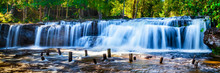 Tropical Waterfall In Jungle With Motion Blur
