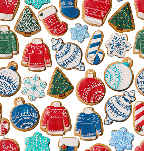 Cotton fabric Seamless texture with Christmas gingerbread cookies