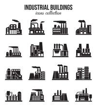 Set Of Industrial Manufactory Buildings Icons Set. Plant And