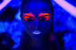 canvas print picture - Neon art make up