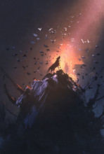Howling Wolf On Rock With Bird Flying Around,illustration Painting