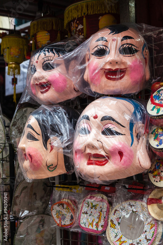 Photo  Chinese Doll Face Masks on Sale in Singapore Chinatown.