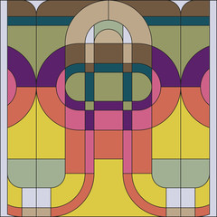 Panel Szklany Ornamenty Art deco vector colored geometric pattern. Art deco stained glass pattern. Abstract pattern.